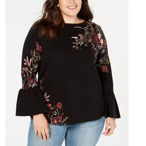 Style & Co Macy's Plus Jacquard Floral Sweater 3X